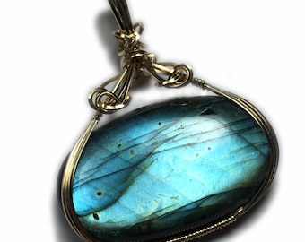 Labradorite Necklace Pendant 14K Gold- Filled Jewelry  Wire Wrapped Jewelry by Rocks2Rings G59 ZB