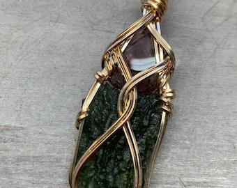 Genuine Moldavite Crystal with Auralite 23 Necklace Pendant Czech Republic Tektite Healing Stones Jewelry MA1G