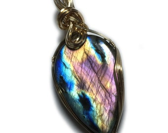 Labradorite, Labradorite Pendant, Blue, Purple, Pink,  14K Gold Filled Pendant Wire Wrapped with Black Leather Necklace Jewelry, 2742g2-7