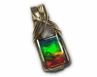Ammolite Pendant 14k Gold Filled Jewelry Rainbow Crystal Top Vivid Blue Green Red Elegant Gift Box Wire Wrapped 2g1