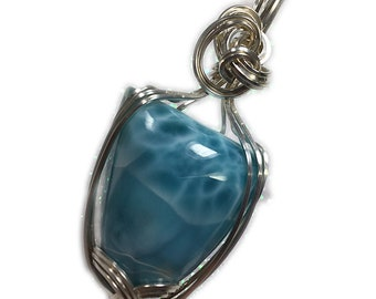 LARIMAR, LARIMAR PENDANT, Sterling Silver, Blues,  Whites, Larimar Necklace, Wire Wrapped, Jewelry, 2725S3-82