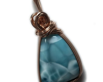 Larimar Jewelry Necklace Pendant Rose - Gold Filled from Dominican Republic with Black Leather Necklace Elegant Gift Box, 62R5-72 Z