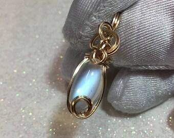 Rainbow Moonstone Pendant - AAAAAA -14k Yellow Gold - 4.3ct (91k56)