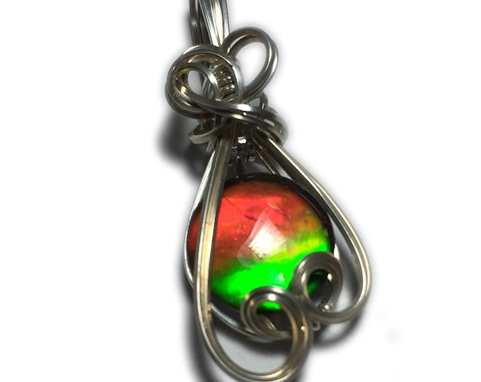 AMMOLITE PENDANT, Rainbow, Sterling Silver, -Crystal topped, Pendant, necklace, Jewelry, 1010S4-62