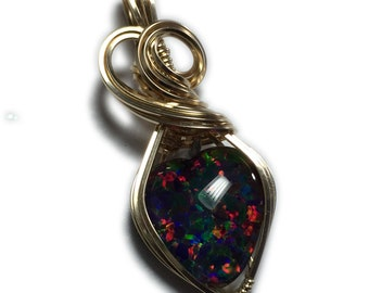 Rocks2Rings Black Opal Jewelry Gold - Filled Pendant for Women, Black Leather Necklace, Exact Stone in Picture, Elegant Gift Box Wire G25
