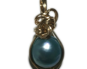 MABE PEARL PENDANT Blue Green - 14k Gold Fill w/ necklace Wrapped Jewelry 18P1-2