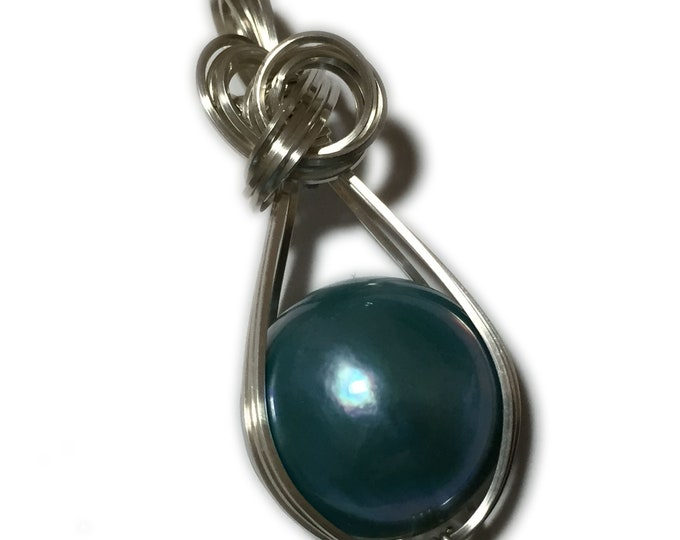 MABE PEARL PENDANT Blue Green Sterling Silver Arg. Wire Wrapped Jewelry SMP1-2