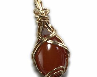 Carnelian Crystal Necklace Pendant 14k - Gold Filled Deep Orange Pendant, Leather Necklace, Exact Gem in Picture, Elegant Gift Box 2g1-5 Z