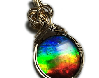 AMMOLITE PENDANT 14k Gold Filled - Rainbow Crystal Top WOW Piece! with Black Leather Necklace Rocks2Rings Wire Wrapped Jewelry 20g1-5