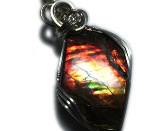 Ammolite Pendant Sterling Silver Jewelry - for Women, Black Leather Necklace Upgraded Elegant Gift Box Exact Gem in Picture  38s2-5