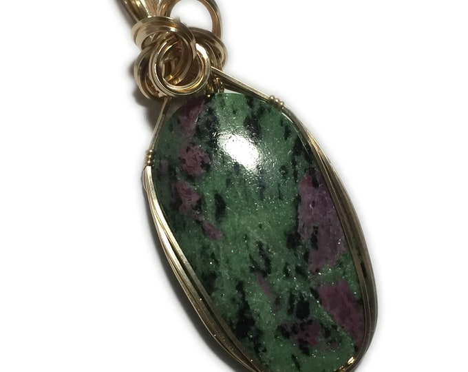 Ruby in Zoisite PENDANT 14k - Gold Fill w/ necklace Wire Wrapped 3922g2-0