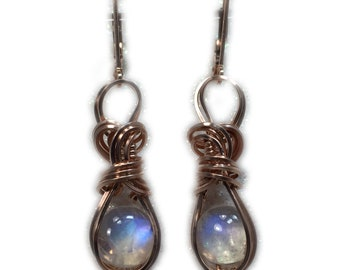 Moonstone, Rainbow MOONSTONE Earrings 14k Rose Gold - Fill Wire Wrapped Jewelry 9R2-8