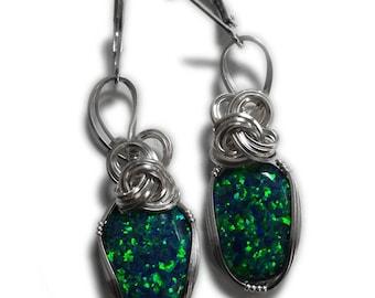 Black Opal Earrings Sterling Silver Lab Created Opal Jewelry Es12 Z