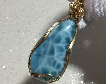 LARIMAR, LARIMAR PENDANT, Deep Blue, White, 14K Gold Filled, Pendant, necklace, Wire Wrapped, Jewelry, 4424g8-52