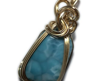 Larimar Jewelry Necklace Pendant 14K - Gold Filled Deep Blue and White with  Necklace, Elegant Gift Box, Wire Wrapped 3g2-23