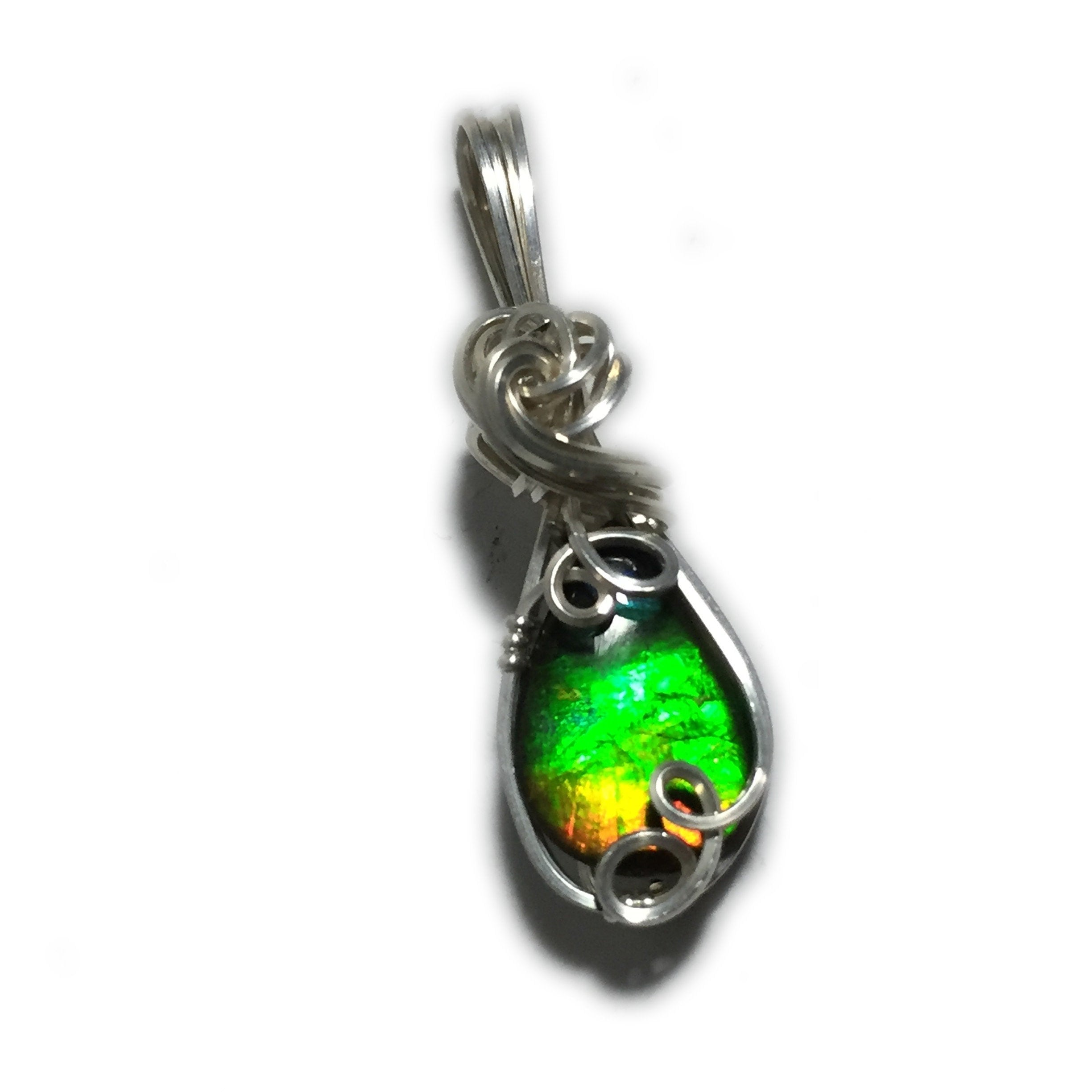 50a609e7d1f391 Rainbow Ammolite Pendant 925 Sterling Silver Wire Wrapped Jewelry Crystal  Topped 128S5-52