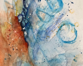 Poppin' the Cork Abstract Watercolor Original Art Gift Idea