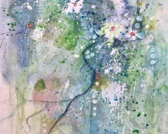 Summer Showers Abstract Watercolor Acrylic Mixed Media Original Art  Painting Gift Idea