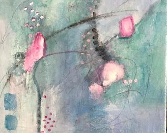 Rosebud Abstract Acrylic Original Mixed Media Painting Art Gift Idea