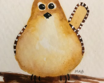 Carolina Wren Watercolor Original Art Bird Painting Gift Idea for Bird Lover