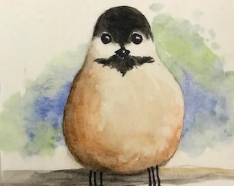Chickadee Tiny Mixed Media Painting Watercolor Black and White Bird