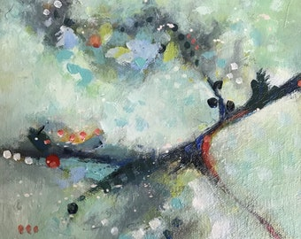 View from a Window Abstract Acrylic Original Mixed Media Painting Art Gift Idea