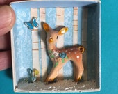 Christmas diorama, tiny diorama, vintage office box, miniature Christmas decor, miniature deer, deer diorama, winter scene, woodland