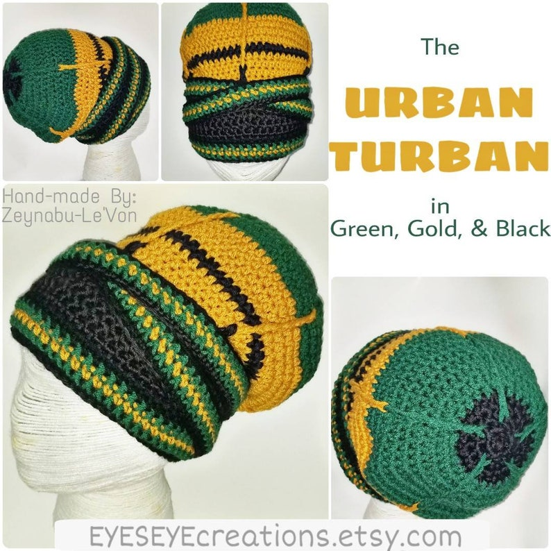 The URBAN TURBAN  a Made to Order crochet headwrap in Green image 0
