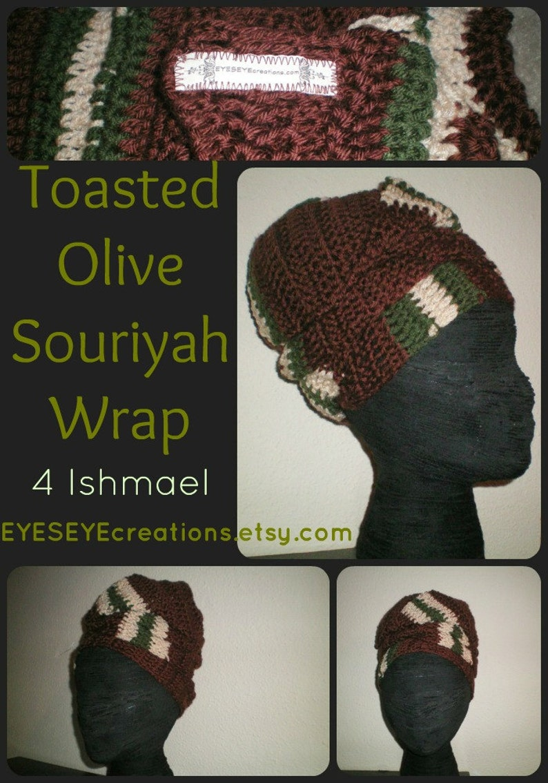 The Souriyah Wrap in Toasted Olive  crochet headwrap image 0