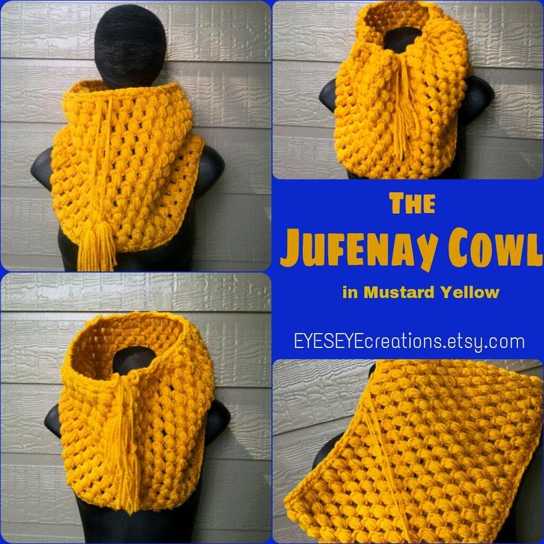 The JUFENAY Cowl  Chunky Drawstring Crochet Cowl in Mustard image 0