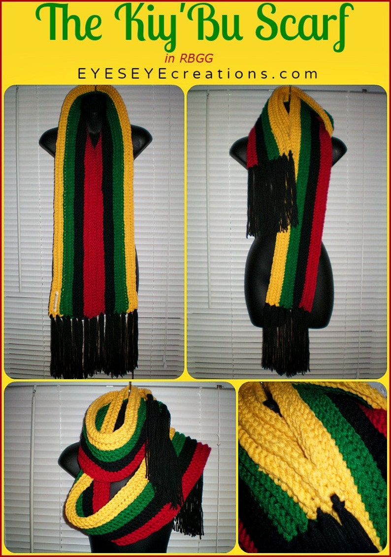 The Kiy'Bu Scarf in red black green & gold  Crochet image 0