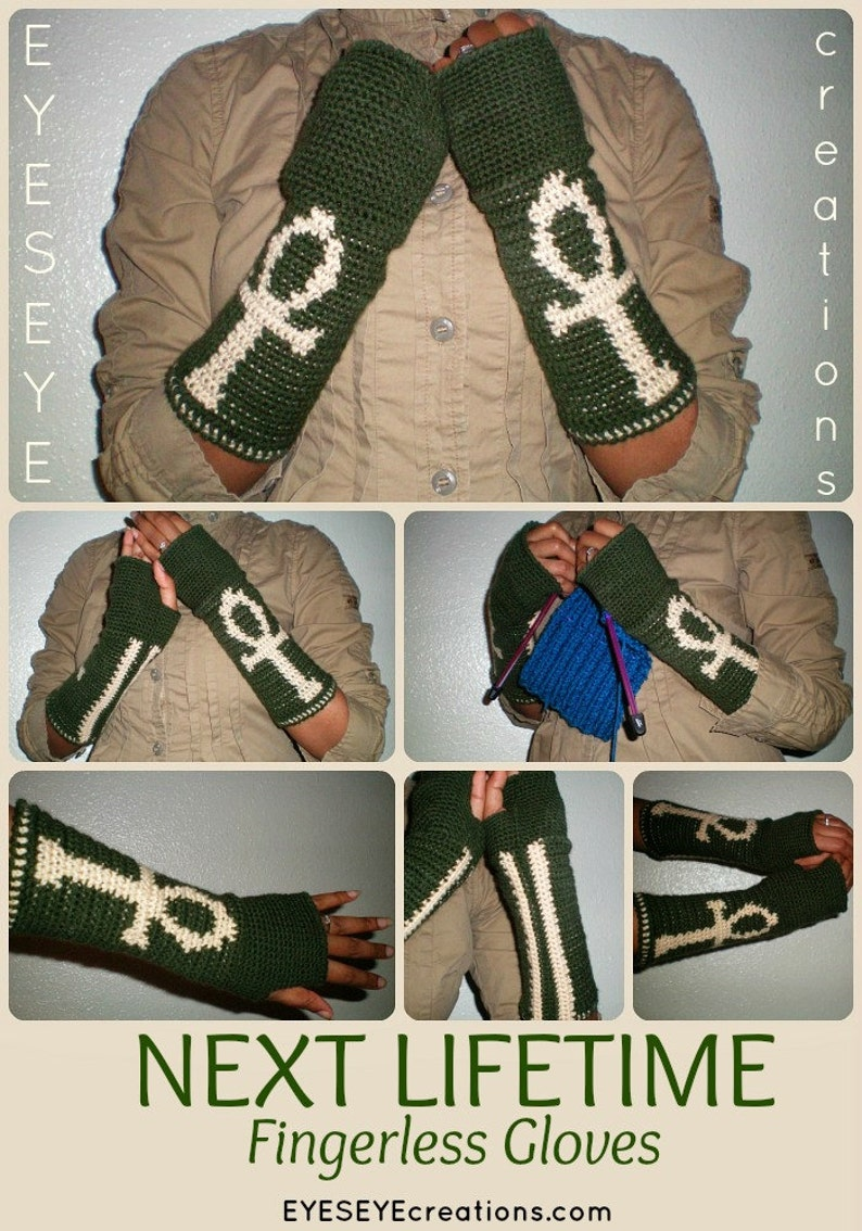 NEXT LIFETIME Crochet Fingerless Gloves  ankh design  Now image 0