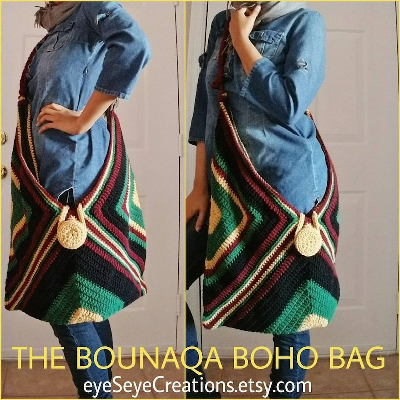 The BOUNAQA URBAN JUNGLE Oversized Boho Bag Made to Order image 0