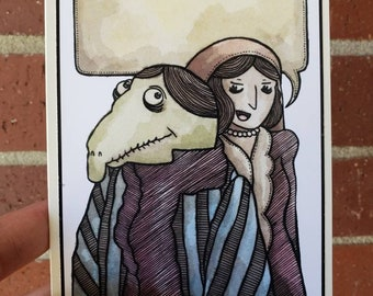 Woman and Alligator Type Man Greeting Card A2