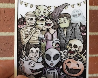 Monster Party Greeting Card A2