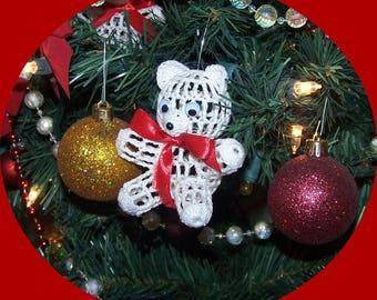 Victorian Crochet Teddy Bear Christmas Ornament