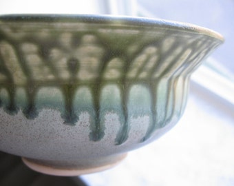 Green and Blue Glazed Ceramic Bowl