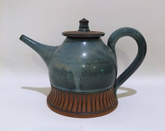 Vintage Blue Glazed Ceramic Teapot