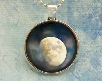 Gibbous Waxing Moon, Magical Surreal Luna, Moon Phase Fine Art Photo Pendant Necklace, Rising Eastern Moon, Moon rise