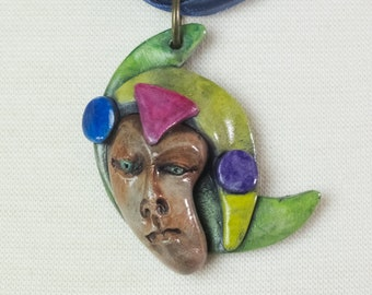 Face Geometric Avant Garde OOAK Pendant Necklace  Clay Jewelry