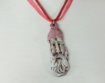Long-John Stretch Santa Claus Pendant Necklace  Clay Jewelry
