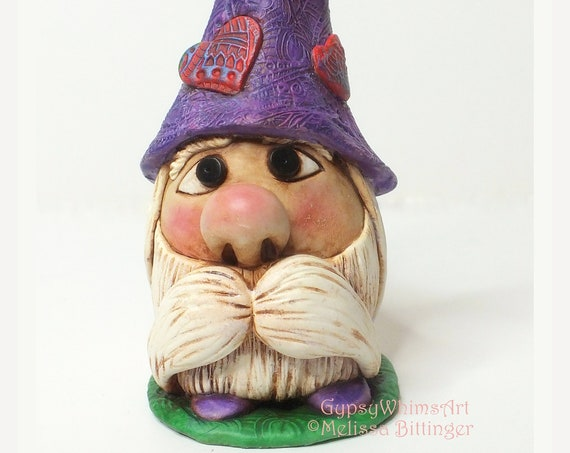 Whimsical Gnome with Red Hearts Purple Hat