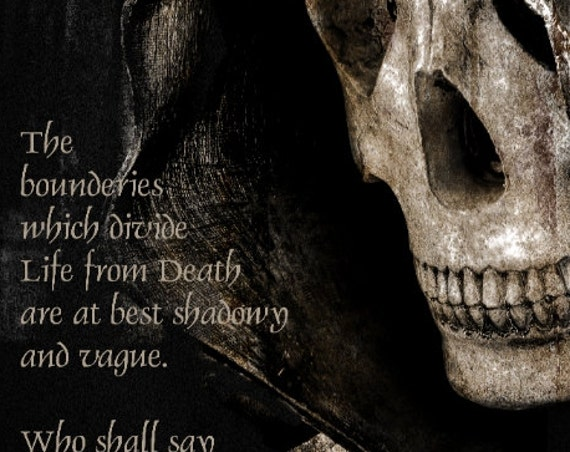 Edgar Allan Poe Quote and the Grim Reaper Angel of Death Spooky Print or Canvas
