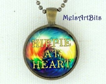 Hippie At Heart Typography Pendant Necklace Boho Retro 1960's Peace Love Tie Dye Colors Blue Red Yellow Green White, Antique Gold  or Silver