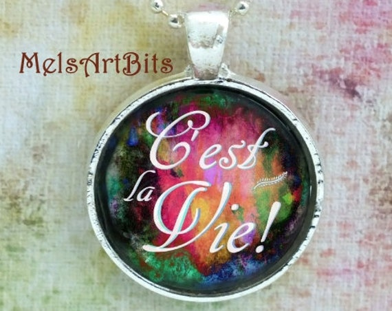 C'est La Vie Necklace,French Jewelry, Such Is Life, That's Life, French Quote Pendant Necklace Jewelry