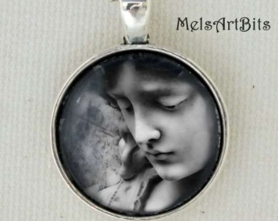 Black and White Guardian Angel Inspirational Faith Religious Gothic Victorian Era Cemetery Angel Fine Art Photography Pendant Necklace