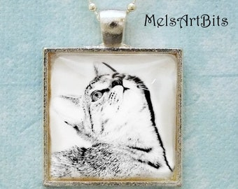 Black and White Cat Profile Portrait Photo Pendant Necklace, Feline, Cat Lover's Jewelry Gifts Pendant Necklace Jewelry