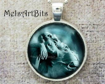 Teal Blue Guardian Angel Pendant Necklace, Grief Mourning, Cemetery Angel, Gothic Romance, Goth Angel Jewelry, Religious Christianity Gifts