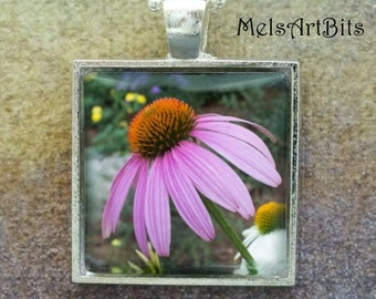 Purple Coneflower Garden Flowers Botanical Nature Woodland Photo Pendant Necklace