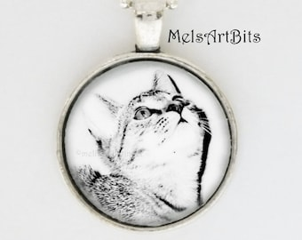 Black and White Curious Kitty Photo Art Pendant Necklace Cat Lover Jewelry Gifts, Feline, Cat Lover's Jewelry Gifts Pendant Necklace Jewelry